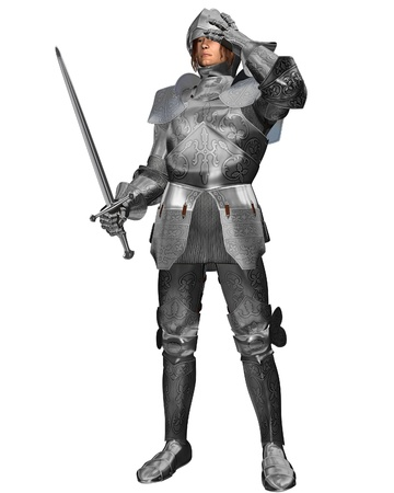 armor: Medieval or Fantasy Knight in decorated armour raising his visor, 3d digitally rendered illustration Stock Photo