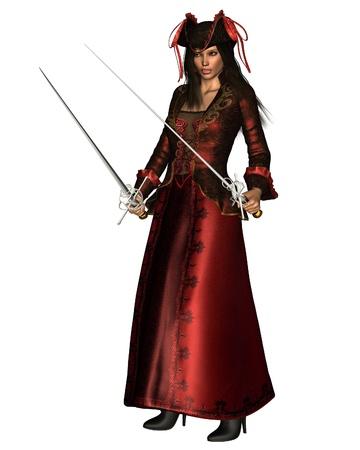 여성 해적 긴 빨간 드레스를 입고 두 레이피어를 들고, 디지털 그림 렌더링 된 3D