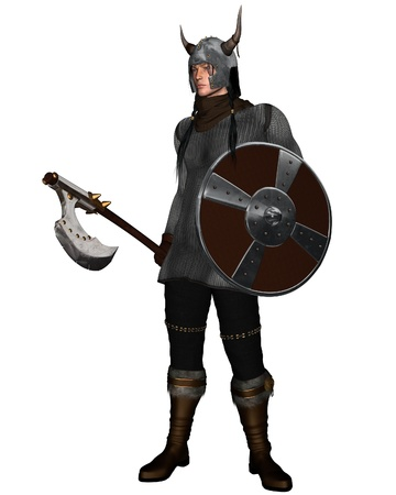 norse: Viking Warrior with shield and fantasy style axe and horned helmet, 3d digitally rendered illustration