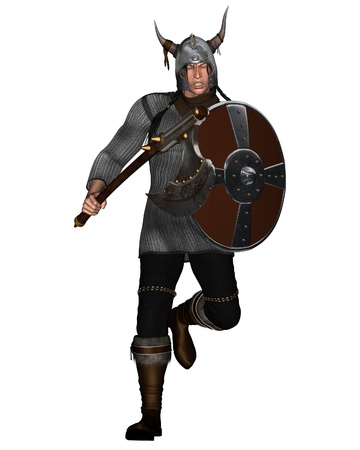 norse: Viking Warrior with shield and fantasy style axe and horned helmet running to attack, 3d digitally rendered illustration