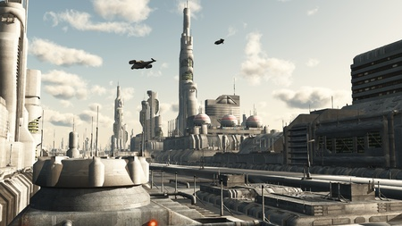 Futuristic sci-fi city street view, 3d digitally rendered illustration Stock Illustration - 11189389