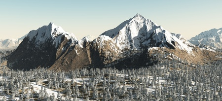 Snowy mountain landscape above a winter forest, 3d digitally rendered illustration Stock Photo