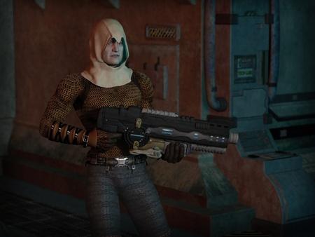 fi: Futuristic sci-fi gunman, 3d digitally rendered illustration