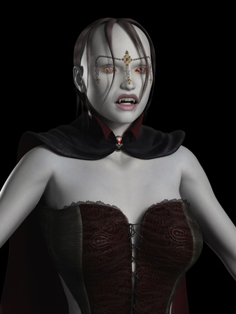 3d scary: Portrait of a Vampire Woman, 3d digitally rendered illustration Stock Photo