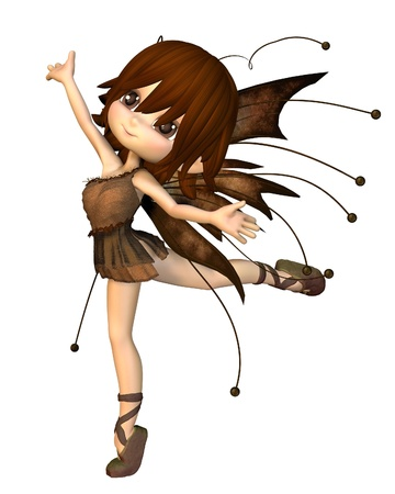 Cute toon fairy in Autumn (fall) colours, 3d digitally rendered illustration Stock Illustration - 11277292