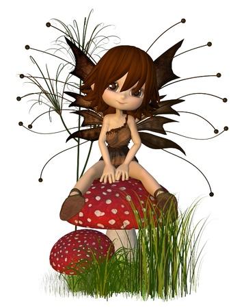fairy cartoon: Cute Toon de hadas en el oto�o (oto�o) colores sentada en una seta, 3d rindi� la ilustraci�n digital