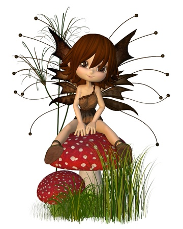 fantasy fairy: Cute toon fairy in Autumn (fall) colours sitting on a toadstool, 3d digitally rendered illustration Stock Photo