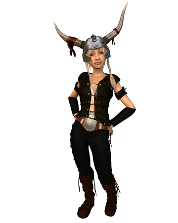 norse: Cute fantasy style Viking warrior girl with horned helmet, 3d digitally rendered illustration