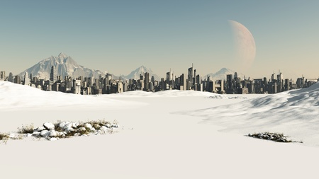 snowscape: View towards a futuristic sci-fi city covered by winter snow, 3d digitally rendered illustration