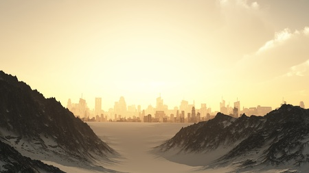 distant: View towards a futuristic sci-fi city at sunset through a mountain pass covered by winter snow, 3d digitally rendered illustration