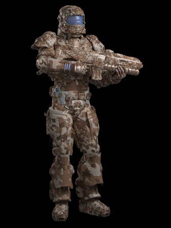 trooper: Futuristic sci-fi space marine trooper in desert camouflage, 3d digitally rendered illustration