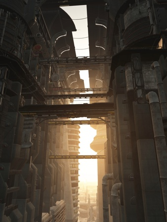 View through the tower blocks of a futuristic sci-fi city, 3d digitally rendered illustration
