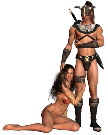 horned: Estilo de fantas�a b�rbaro el hombre y la mujer, 3d rindi� la ilustraci�n digital Foto de archivo