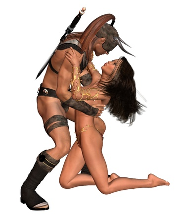 female warrior: Fantasy style barbarian man and woman, 3d digitally rendered illustration