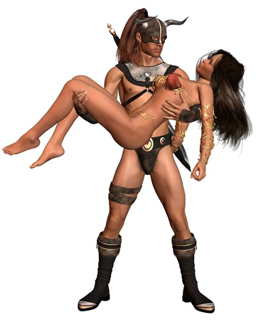swordsman: Fantasy style barbarian man carrying a woman, 3d digitally rendered illustration Stock Photo