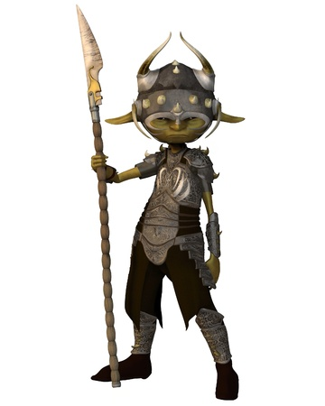 Green-skinned goblin soldier carrying a spear, 3d digitally rendered illustration