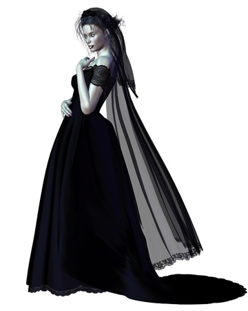 Woman in Gothic makeup wearing a black wedding dress, 3d digitally rendered illustration illustration