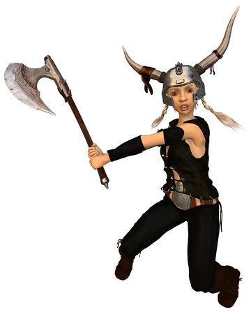 horned: Cute fantasy style Viking warrior girl with horned helmet swinging a battle axe, 3d digitally rendered illustration