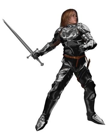 caballero medieval: Joven caballero en armadura con la lucha con espada o la formación, 3d rindió la ilustración digital