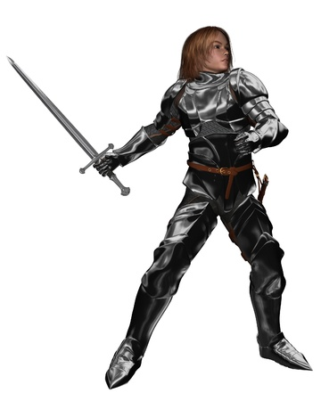 Young knight in armour with sword fighting or training, 3d digitally rendered illustration illustration