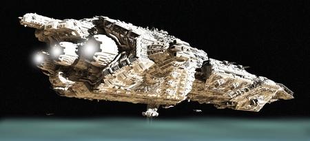 raumschiff: Riesen-Raum Schlachtkreuzer und kleinen Raumgleiter im niedrigen Orbit über einen Planeten, 3D digital gerendert darstellung
