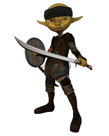 Green-skinned goblin soldier carrying a sword and shield, 3d digitally rendered illustration
