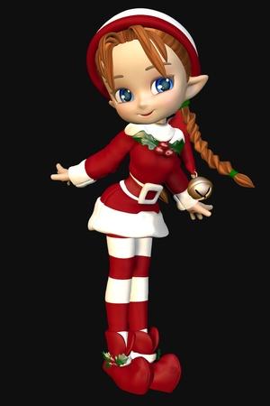 Cute toon christmas elf girl on a black background, 3d digitally rendered illustration Stock Photo