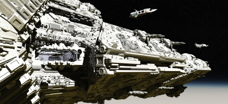 space ship: Giant space battle cruiser deploying small scout ships in low orbit over a planet, 3d digitally rendered illustration Stock Photo