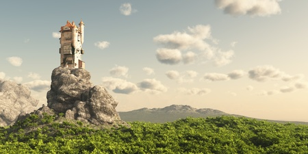 fairytale castle: Mediaeval or fantasy tower on a rocky outcrop surrounded by empty moorland and trees, 3d digitally rendered illustration Stock Photo