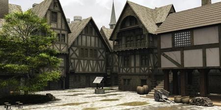 Edad de Piedra: Mercado en el centro de una ciudad de estilo medieval o de la fantas�a con la torre de la iglesia y detr�s de las torres del castillo, 3d rindi� la ilustraci�n digital