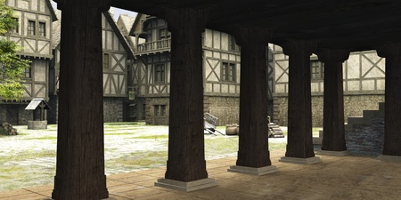 mediaeval: View from inside the market hall in the centre of a Medieval or fantasy style town towards the open marketplace, 3d digitally rendered illustration Stock Photo