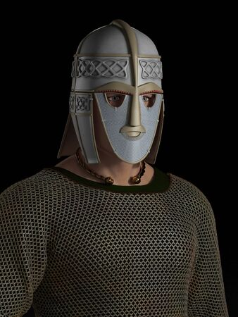 chieftain: Portrait of a Saxon warrior chieftain with decorated helmet, 3d digitally rendered illustration on black background Stock Photo