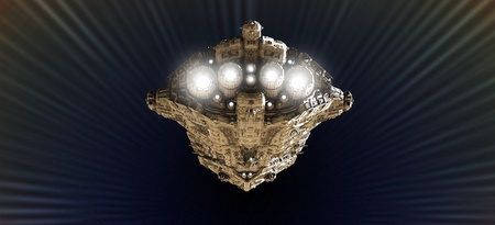 Battle cruiser approaching light speed in an outer space wormhole, 3d digitally rendered illustration illustration