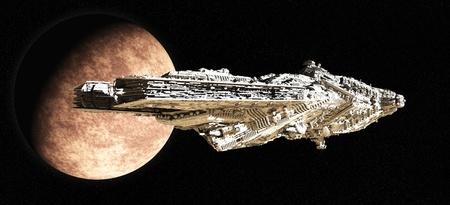 Giant space battle cruiser leaving orbit from an alien planet, 3d digitally rendered illustration