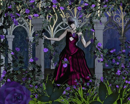 Young woman wearing a ball gown and Venetian carnival mask standing in a gothic rose arbour at evening, 3d digitally rendered illustration illustration
