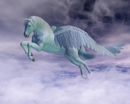 pegaso: Pegasus el caballo volador de la mitología griega galopando por las nubes de tormenta, 3d rindió la ilustración digital