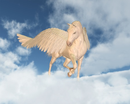 pegasus: Pegasus the Flying Horse of Greek Mythology looking down through fluffy white clouds on a sunny day, 3d digitally rendered illustration