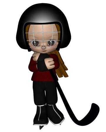 niño en patines: Linda niña vestida con un batallón maillot rojo listo para jugar hockey sobre hielo, 3d rindió la ilustración digital Foto de archivo