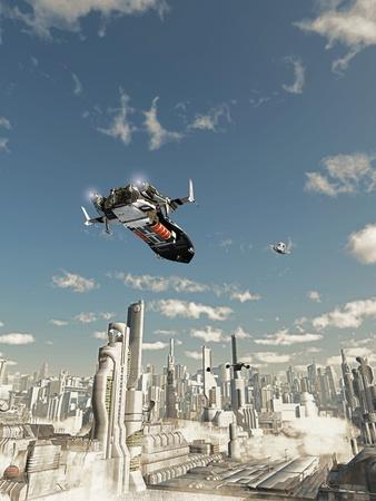 raumschiff: Erkundungsschiff auf seinem Endanflug bis zur Landung in einem futuristischen Science-Fiction-Stadt, 3d digital gerendert darstellung