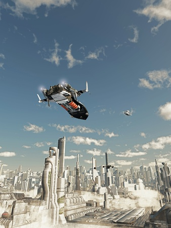 fantasy fiction: Scout ship on its final approach to landing in a futuristic science fiction city, 3d digitally rendered illustration Stock Photo