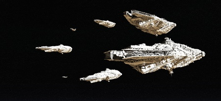ship sky: Battle fleet of giant space cruisers and small scout ships, 3d digitally rendered illustration Stock Photo