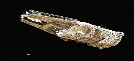 space ship: Giant space battle cruiser and small scout ships viewed from below, 3d digitally rendered illustration