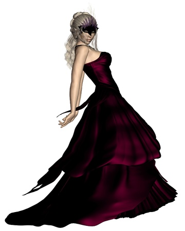 Young woman wearing a ball gown and Venetian carnival mask, 3d digitally rendered illustration illustration