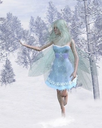 Cold winter fairy with a cute red nose catching snowflakes in a snowy woodland, 3d digitally rendered illustration isolated on a white background illustration