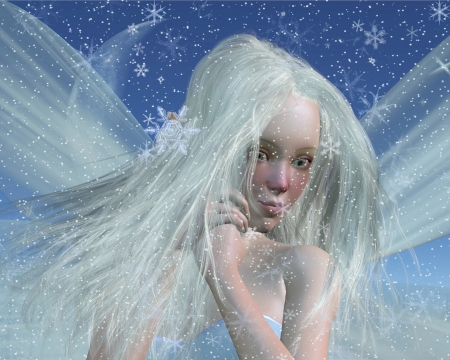 faery: Close-up protrait of a cold winter fairy with a cute red nose on a snowy winter night, 3d digitally rendered illustration