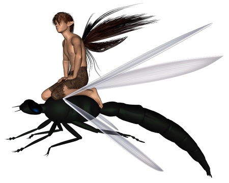 faery: Young male fairy riding a green dragonfly, 3d digitally rendered illustration