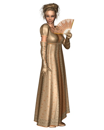 period: Jane Austen character in Regency Period dress with fan, 3d digitally rendered illustration