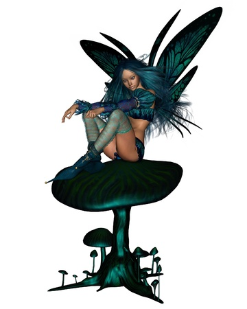 faerie: Pretty fairy with turquoise hair and butterfly wings sitting on a green toadstool, 3d digitally rendered illustration