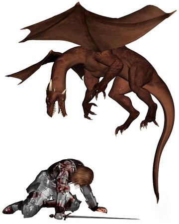 ひざまずく: 負傷した騎士の血まみれの鎧に襲われたドラゴン、3 d デジタル レンダリングの図