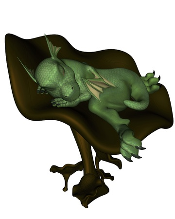 green dragon: Cute toon baby dragon fast asleep on a toadstool, 3d digitally rendered illustration